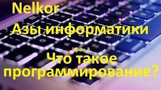 Азы информатики. Урок 3. Что такое программирование?