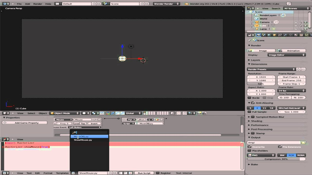 BGE15 - Python in Blender Game Engine - Move Object with Mouse - Drag n  Drop - Linux - Part#3