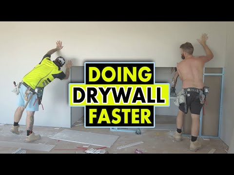 Drywall Construction Crew Working Fast