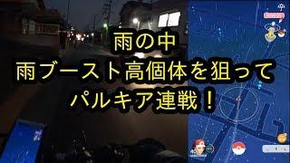 【ポケモンGO】雨の中、ブースト高個体を求めパルキア連戦!