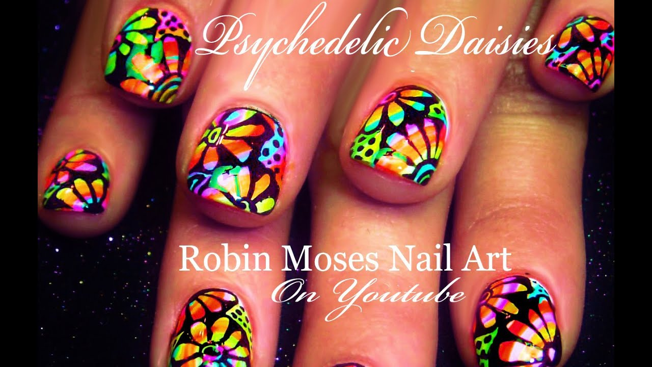 psychedelic neon daisy nails