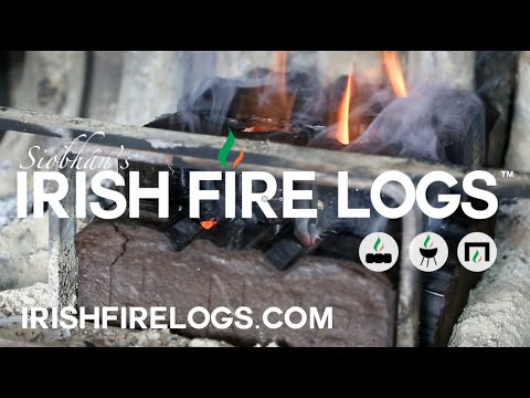 Starting an Irish peat fire with Siobhán's Irish Fire Logs
