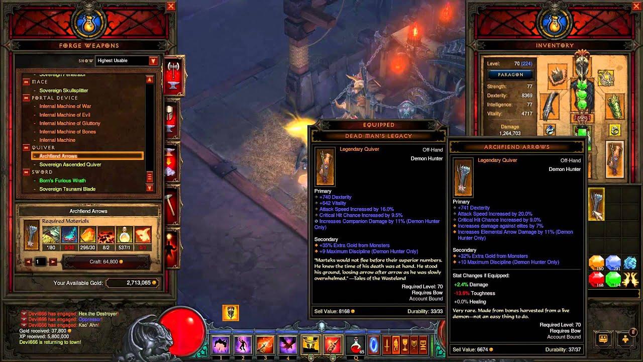 Diablo 3 ros crafting archfiend arrows youtube for Diablo 3 crafting items