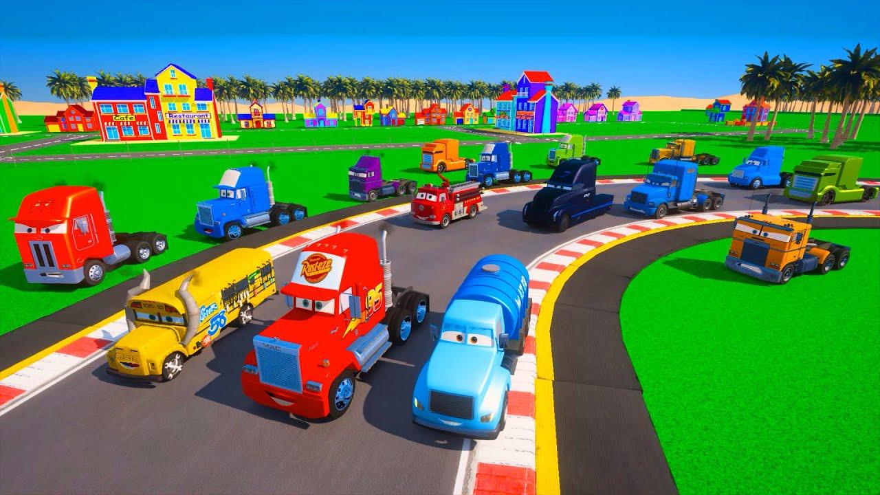 Race Cars Crazy 8 Truck Mack VS Gale Beaufort McQueen & Friends Colors Trucks Jerry Semi Mr  Drippy