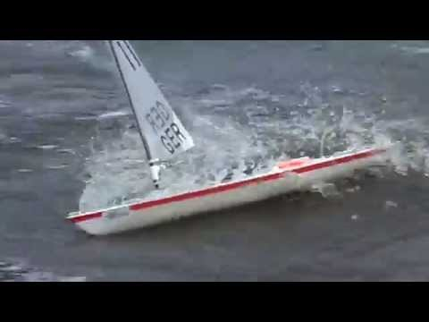 Rc Laser Sailboat With Storm Rig D Sail Youtube