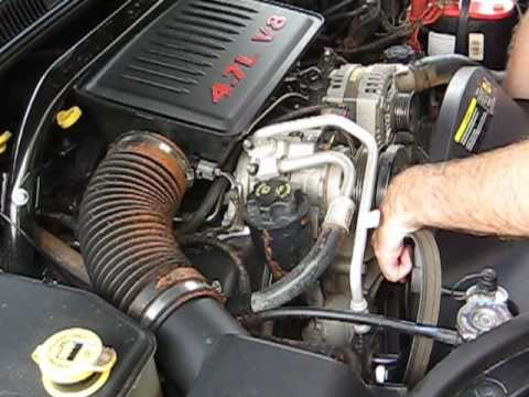 how to change your serpentine belt jeep 4 7l youtube rh youtube com 2002 Dodge 4.7 Engine Diagram 2005 Dodge Durango 4.7 Engine Diagram