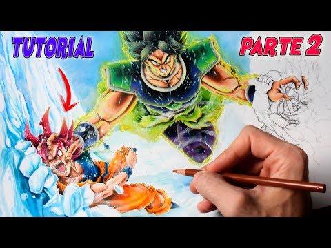 Cómo Dibujar a Goku y Vegeta SSG vs Broly (parte2)   Dragon Ball Super