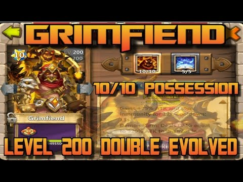Grimfiend 10/10 Skill, 200 Double Evolved, 5/5 Revitalize Gameplay/Review Castle Clash