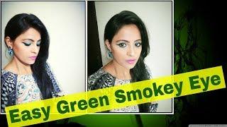 Easy & Simple Green Smokey Eyes Party Makeup Look