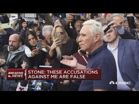 Indicted Trump associate Roger Stone speaks after making court appearance