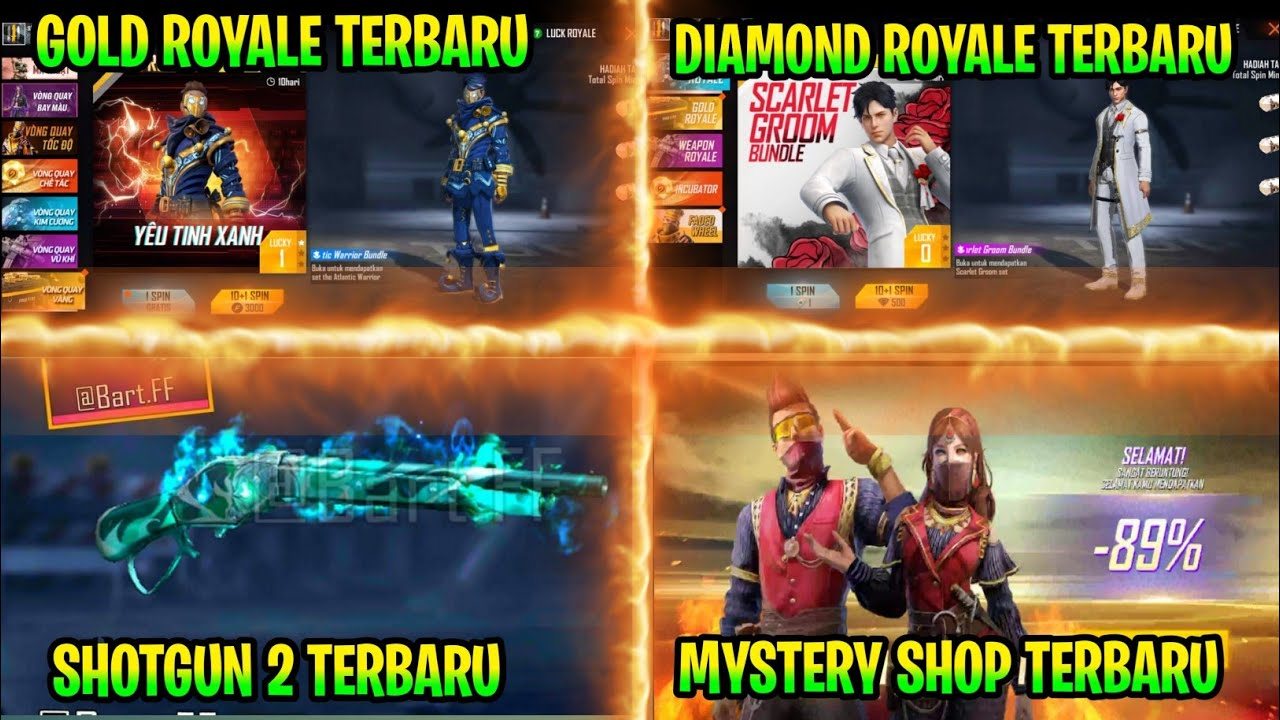 FREE FIRE!! BOCORAN GOLD ROYALE TERBARU | SHOTGUN 1887 TERBARU, DIAMOND ROYALE TEBARU, MYSTERY SHOP