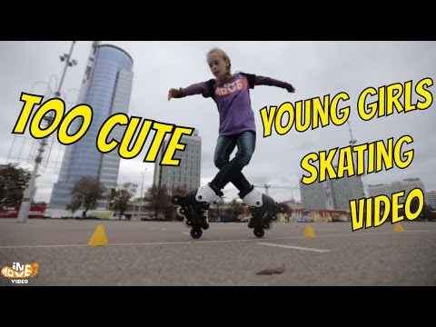 Amazing girls Freestyle Slalom on inline skates
