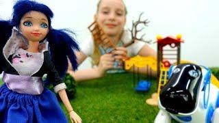 Видео для девочек - Маринетт гуляет с Рокки - Игры в куклы