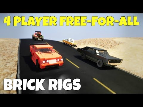 FOUR PLAYER FREE-FOR-ALL CANYON RACE! - Brick Rigs Multiplayer Gameplay Challenge