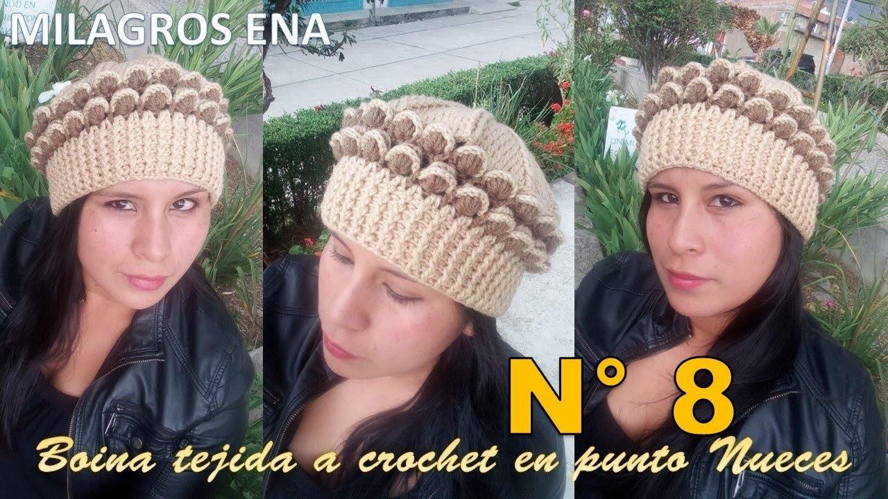 Boina Gorro a Crochet en punto Nueces en 3D paso a paso con indicaciones  para cualquier edad 9ee0c4d3893