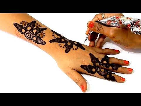 Unique Backhand Mehndi Design for Diwali, Karvachauth - हेयरक्लिप से बनायें मेहँदी | Beauty Zing