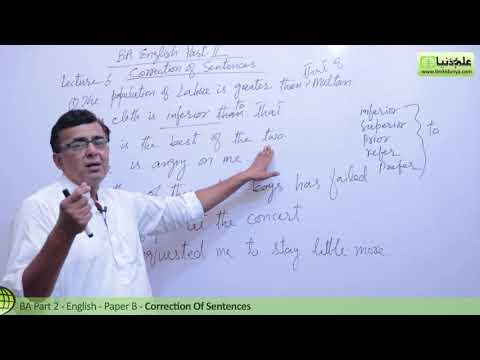 BA English Correction of Sentences Lecture 6 BA Part 2 Paper B Punjab University