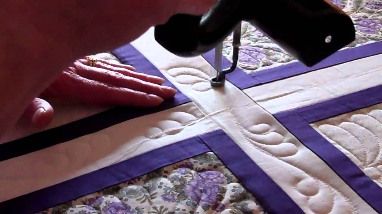 Reversing Curly Feather Quick Sashing Border Quilting 070214