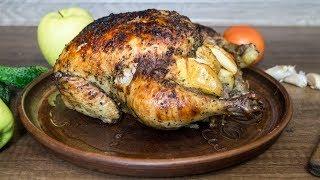 Курица запеченная с яблоками