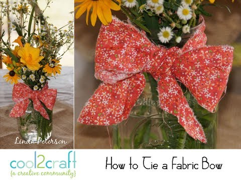 How To Tie A Fabric Bow On Mason Jar By Linda Peterson Youtube