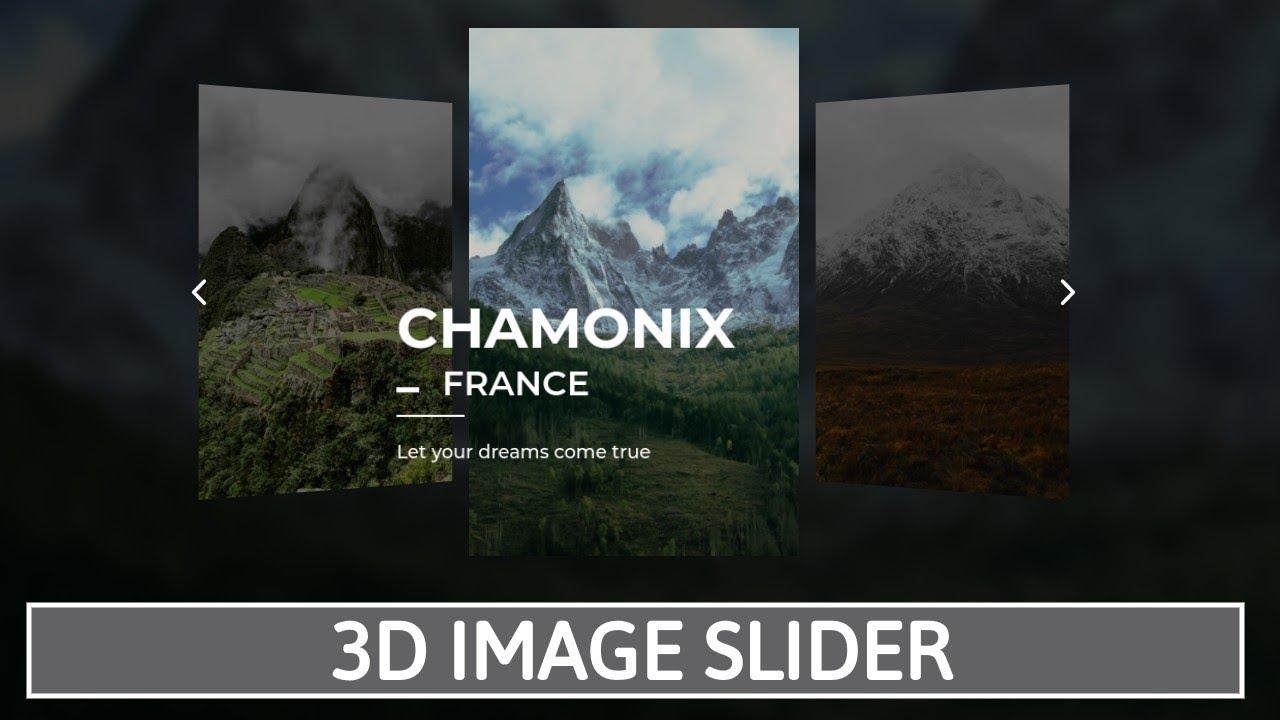 3D Image Slider Responsive Touch Slider using HTML CSS & JavaScript