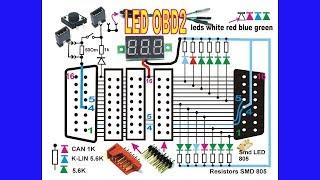 LED OBD2 пробник автодиагноста. Схема.