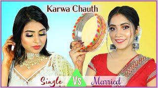 BEAUTY BATTLE - Single vs Married Karwa Chauth Makeup | Step By Step Tutorial | Anaysa