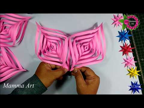 3D Paper Snowflake Tutorial || 5 Point paper star shape Snowflake tutorial for Christmas decoration