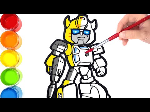 How to Draw and Color Transformers Bumblebee for kids | Learn Colors