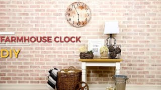 Easy DIY Farmhouse Clock By Using A Stencil On Reclaimed Wood