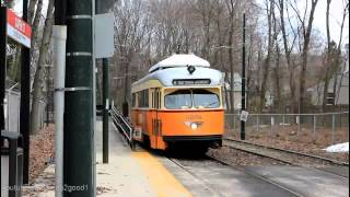 MBTA Trolley: Double PCC Cars at Capen Street Station