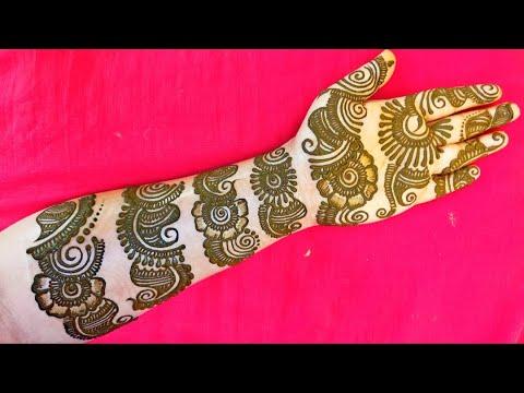 full hand round belt mehndi design