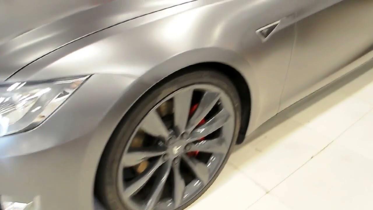 Satin dark grey tesla model s p85d by wrap workz hong kong   youtube