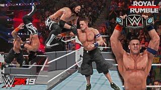 WWE 2K19: John Cena wins his 16th World Championship vs AJ Styles (Royal Rumble 2017 Moment)