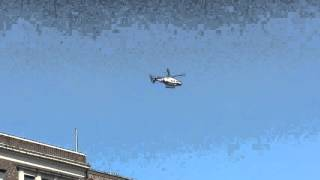 NYPD HELICOPTER PATROLLING ALONG EASTERN PARKWAY IN CROWN HEIGHTS, BROOKLYN IN NEW YORK CITY.