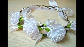 відео майстер клас як зробити трояндочку з атласної стрічки