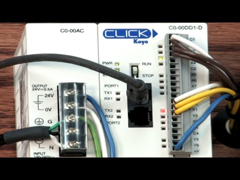 click plc y001 output on part 10 youtube rh youtube com click plc wiring model co-ooar-d plc Input Cable Connection