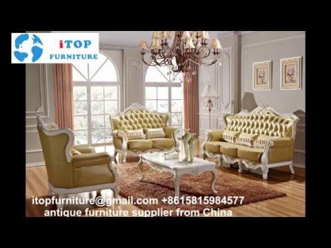 European antique furniture luxury wooden leather sofa supplier
