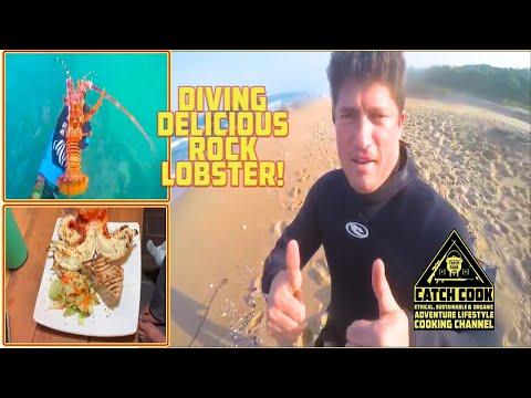 Diving Delicious Rock Lobster! [CatchCook] Scottburgh, KZN, RSA