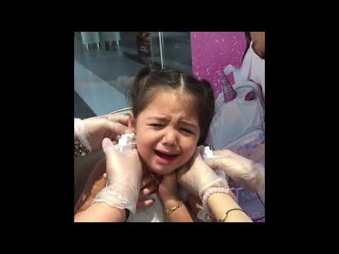 Brave toddler gets ears pierced first time at Claire's