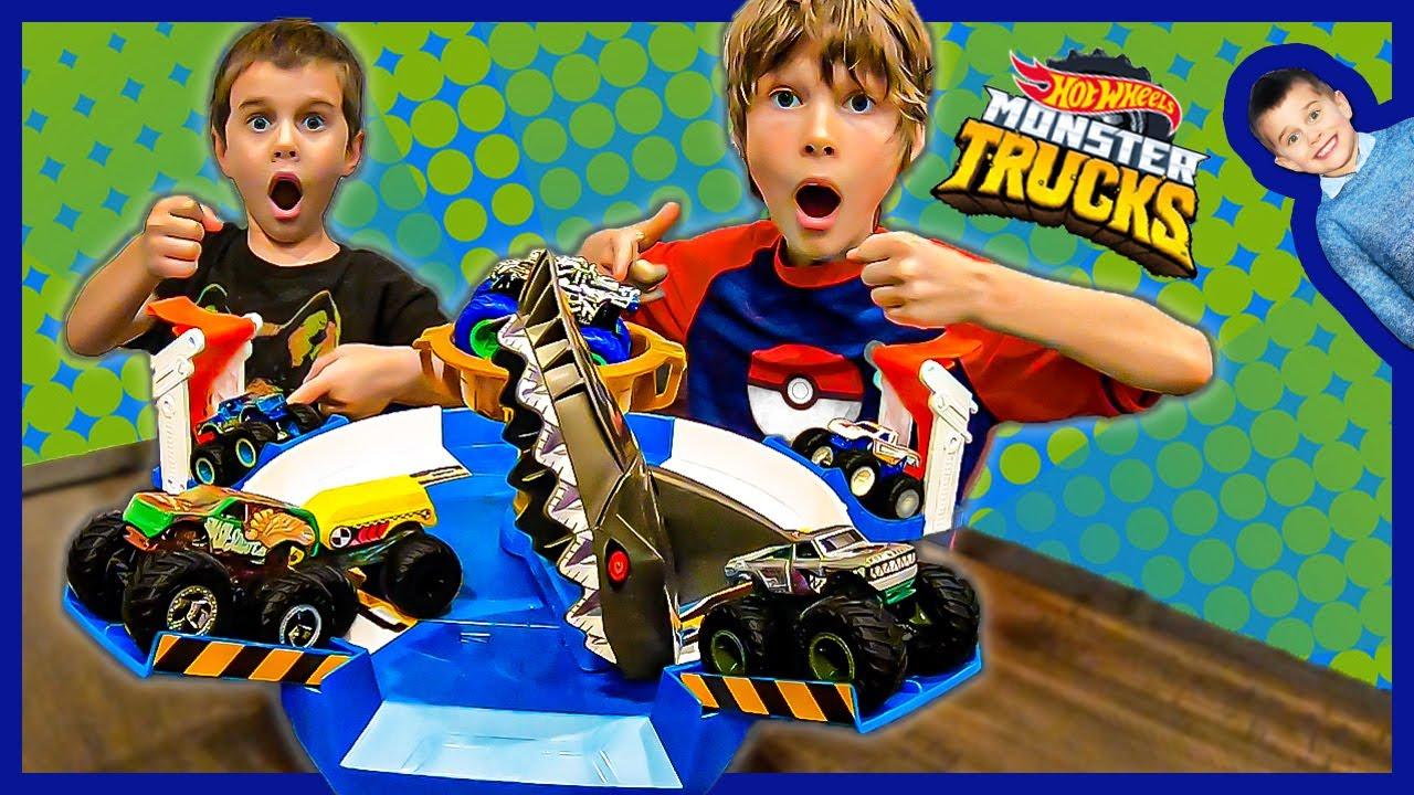 Download Brooks and The Axel Show Hot Wheels Monster Truck Mecha Shark Face Off