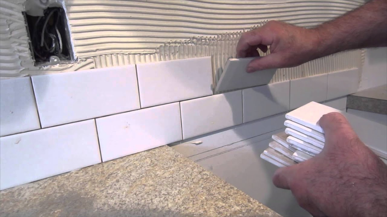 How Much To Install Backsplash my backsplashes were in really bad shape you could see the damage from where the old white tile backsplash was removed to install the countertops How To Install A Simple Subway Tile Kitchen Backsplash Youtube