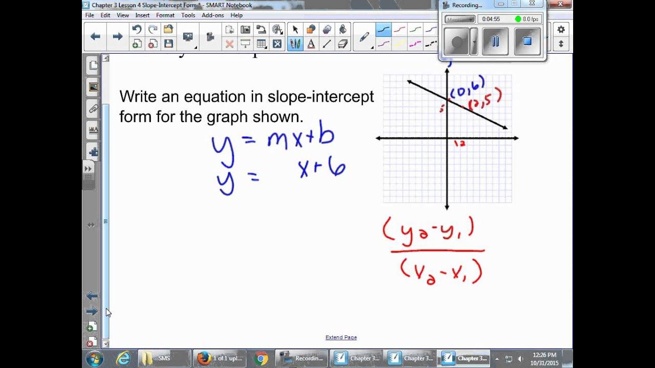 Chapter 3 lesson 4 slope intercept form youtube chapter 3 lesson 4 slope intercept form falaconquin