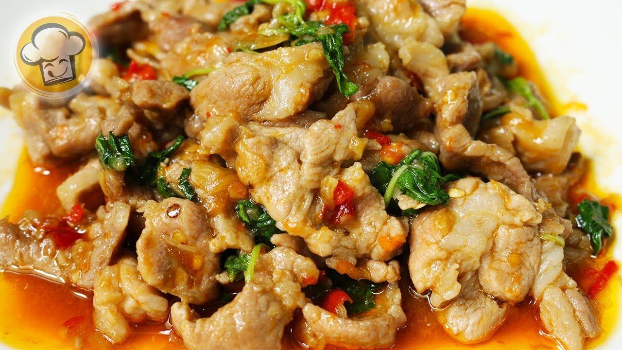 ผัดกะเพราหมูชิ้น เมนูหมู ทำง่ายๆแต่อร่อยมาก   Spicy fried pork with holy basil   ครัวปรุงอร่อย