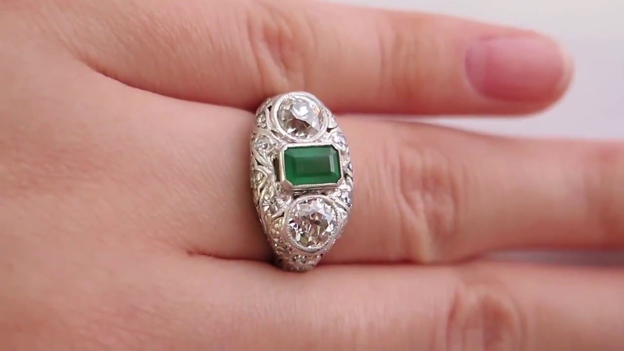 Art Deco Antique Vintage 2.72ct Green Emerald and OLD Euro Diamond ...
