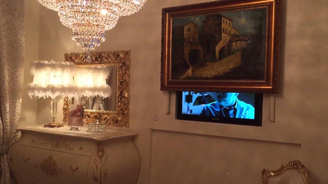 Super TV dietro un quadro con sali e scendi elettronico - YouTube RX13