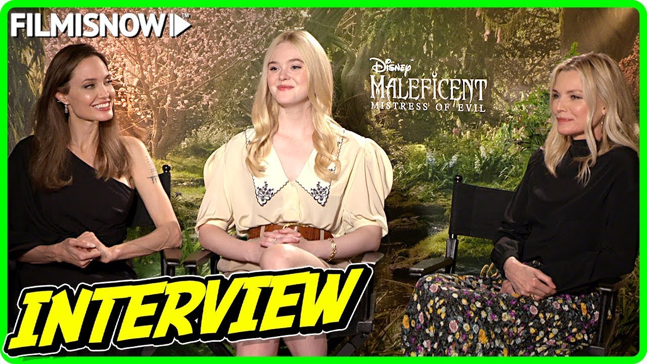 Maleficent Mistress Of Evil Angelina Jolie Michelle Pfeiffer And Elle Fanning Official Interview
