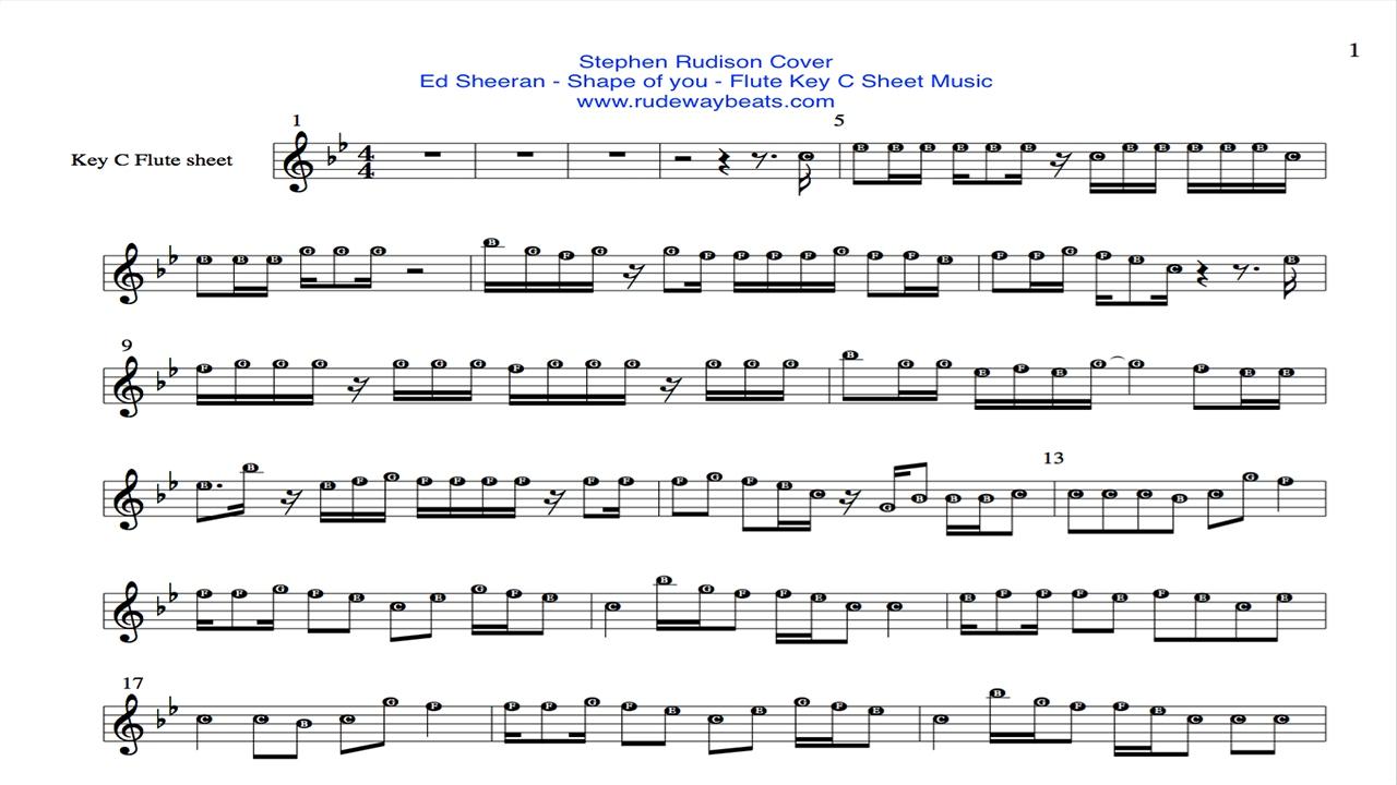 ed sheeran🔊 shape of you🔥key c flute 🎼 notes - youtube  youtube