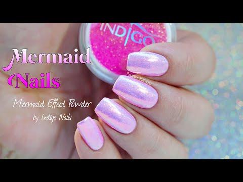 Mermaid Nails Indigo Nails Mermaid Effect Powder Pastel Pink Youtube