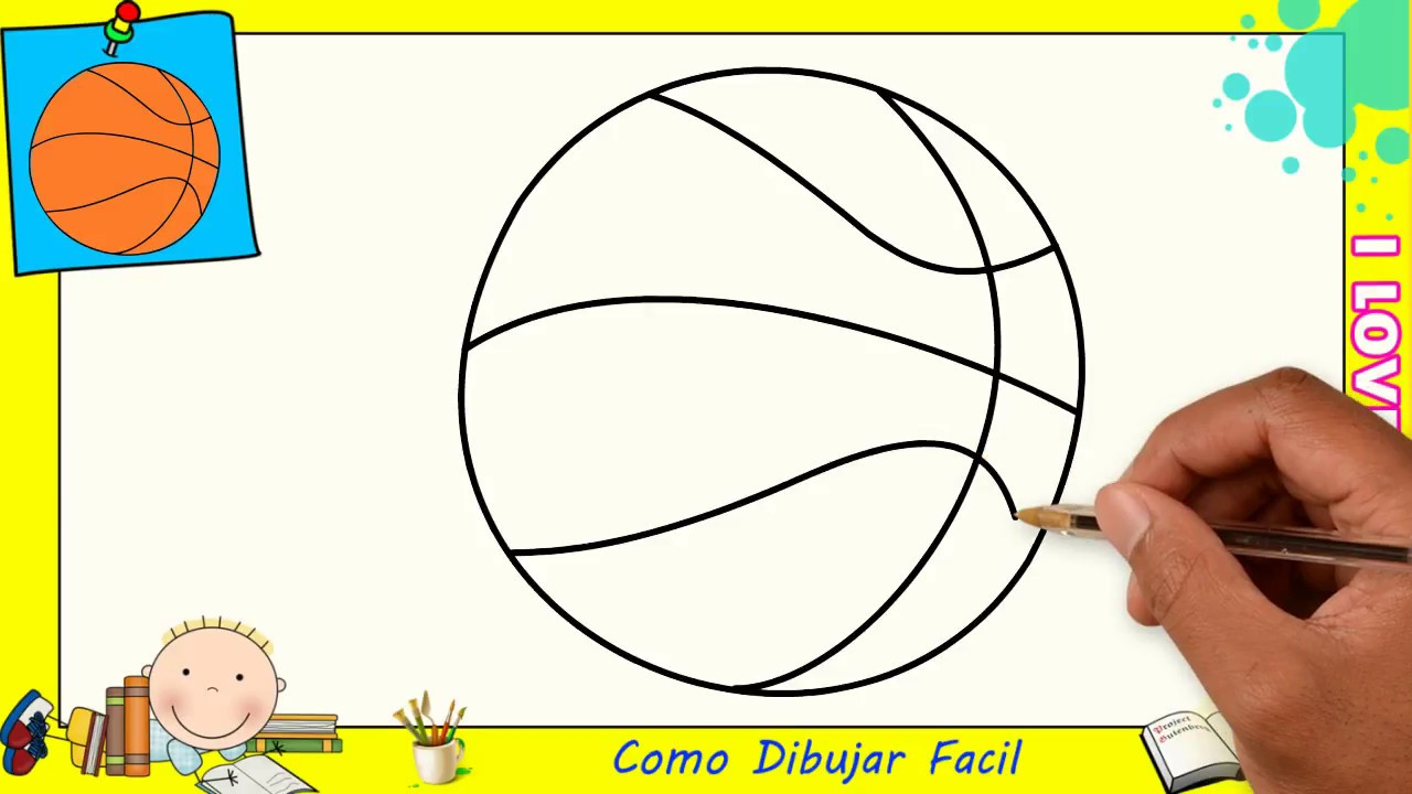 Como Dibujar Un Balon De Baloncesto Facil Paso A Paso Para Niños Y